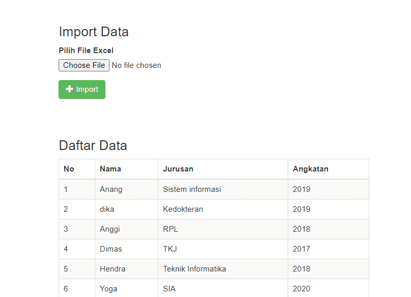hasil dari kode import data excel ke database